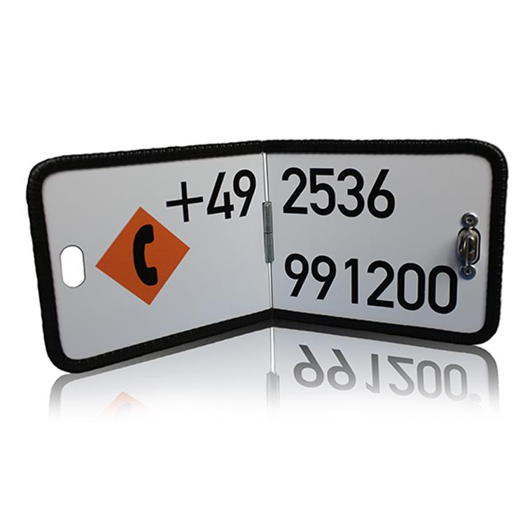 1000032 X - Kennzeichnungstafel klappbar / 300 x 120 mm, mit individueller Notfallnummer (Einzelansicht)