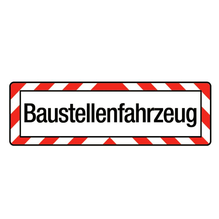 """warntafeln Produktvarianten 0023 9000280 9000290 - LKW-Schild """"Baustellenfahrzeug"""" / 200 x 650 mm (Einzelansicht)"""