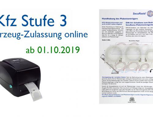 i-Kfz Stufe 3: Online-Zulassung mit SecuRasta perfect online®-Plakettenträgern