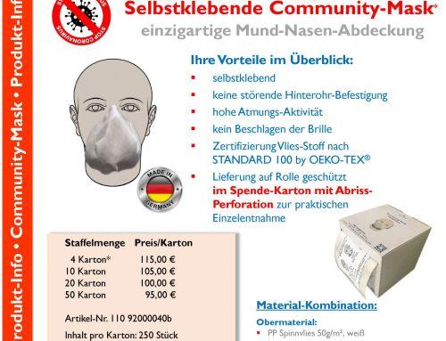 Jetzt erhältlich: Selbstklebende Community-Mask
